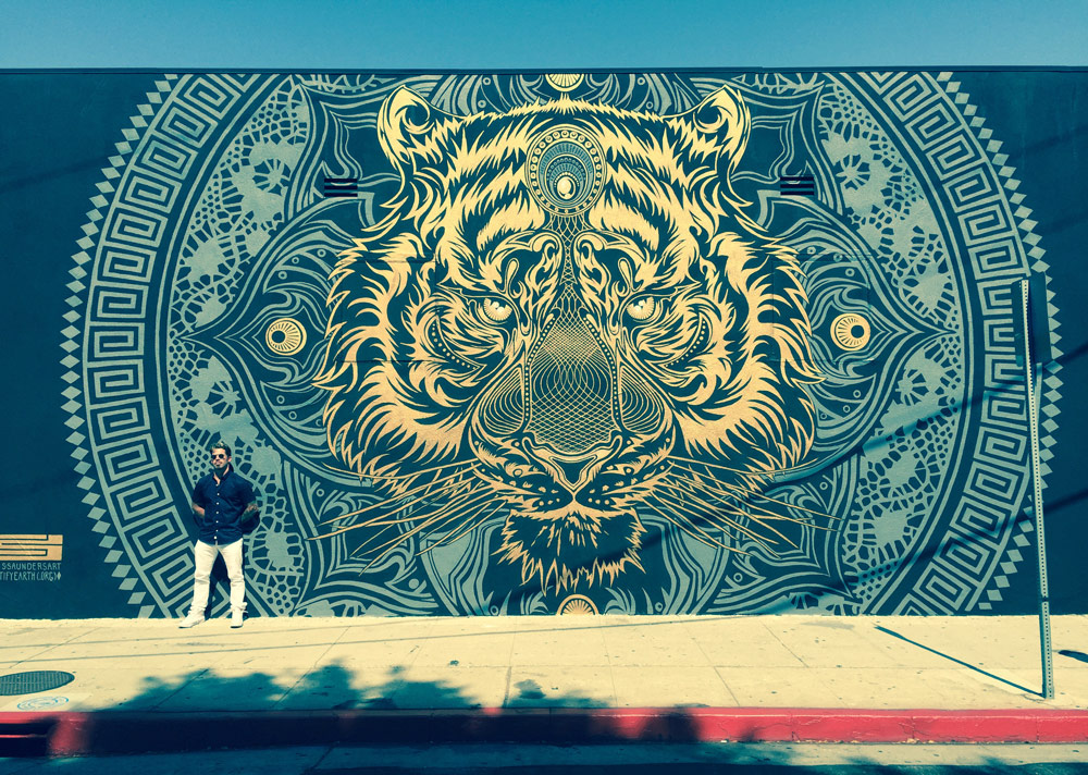 Chris saunders slays first mural with massive tiger mandala for Mural mandala