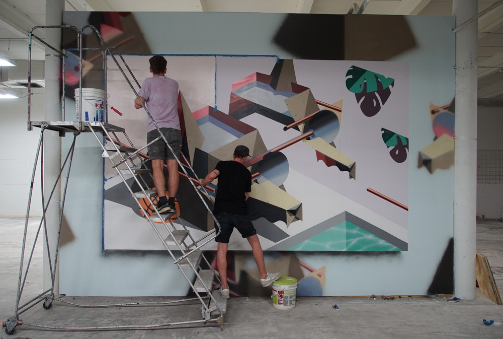 The Low Bros in progress at the Juxtapoz Clubhouse.